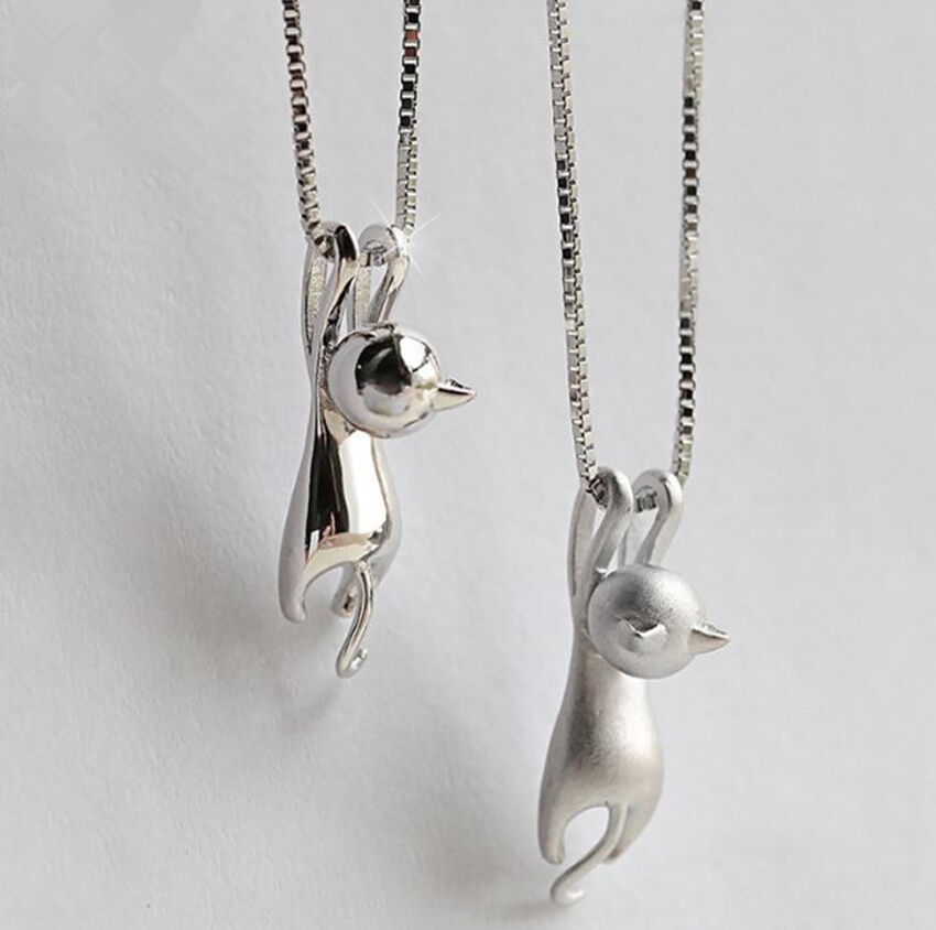 Jewellery - Cat Pendant Chain Necklace Stud Earrings 925 Sterling Silver Womens Jewellery UK