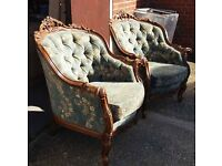 Pair Of French Style Walnut Button Back Salon Chairs