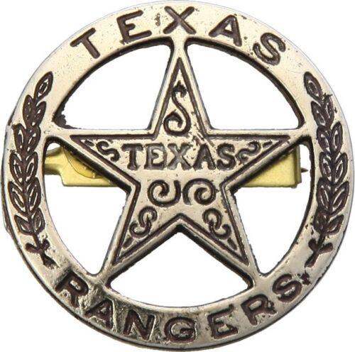 "Denix Texas Ranger Badge Replica 1.5"" Brass Finish Metal Construction Pin Back"