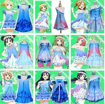 1pc Anime Love Live Character Blue Dress Awaken Cosplay Costume Gate for dreams](Anime Blue Dress)