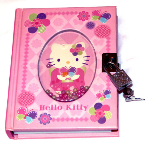 Sanrio Hello Kitty and Butterflies Kimono Diary Book Notebook w Lock 288 Pages