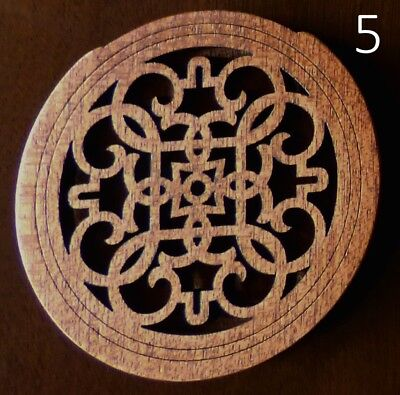 Natural Mahogany Acoustic Guitar  Soundhole Cover Laser Cut Design #5