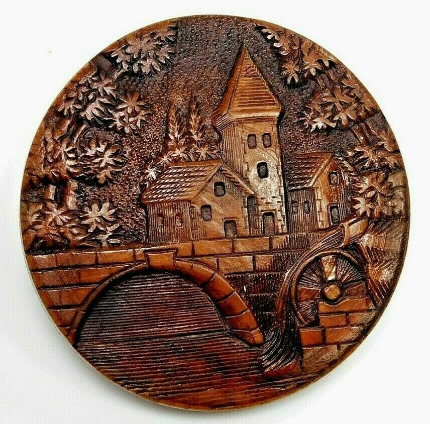Antique Vtg BUTTON Large Carved Wood Village Bridge Depose PARIS K3 - $39.99