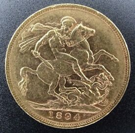 Full gold Sovereign coin Victoria 1894 M graded EF