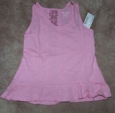 NEW The Childrens Place Little Girls Peplum Tank Top Pink 4 XS X-Small NEW NWT