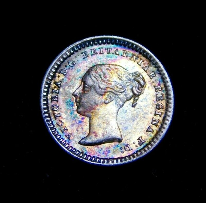 1839 Great Britain 1.50P 1 1/2 Pence Victoria Silver Coin, UNC w/ Rainbow Toning