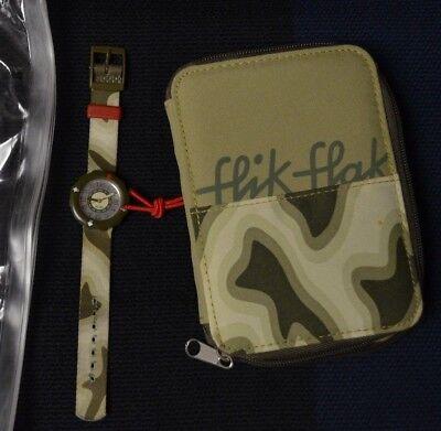 Flik Flak Swatch Camo Kids Watch Wristwatch Olive Green Swiss Made VGC Complete