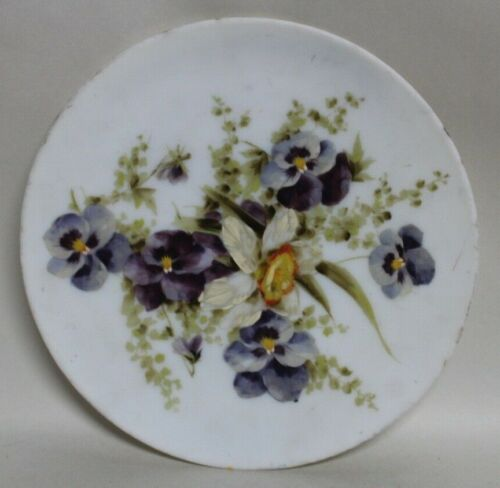 Chic ANTIQUE HAND PAINTED Pretty Pansies MILK GLASS PLATE Shabby!