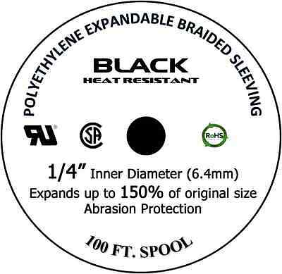 """100 FT. 1/4"""" Black Expandable Wire Cable Sleeving Sheathing Braided Loom Tubing"""