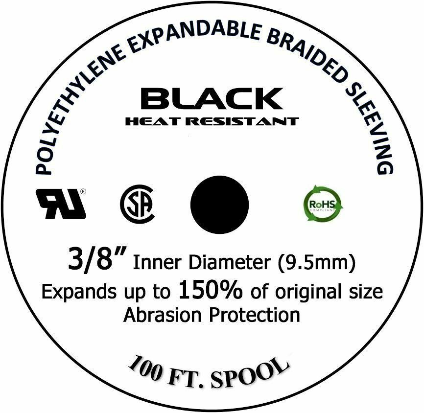 ALL SIZES  1 FT  100 FT Black Expandable Wire Cable Sleeving Braided Tubing LOT