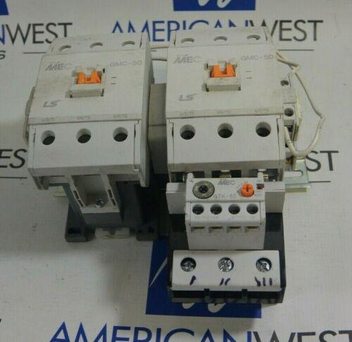 Set of 2 LS MEC GMC-50 Contactors 120V 50/60Hz Coils with GTK-85 Overload Relay