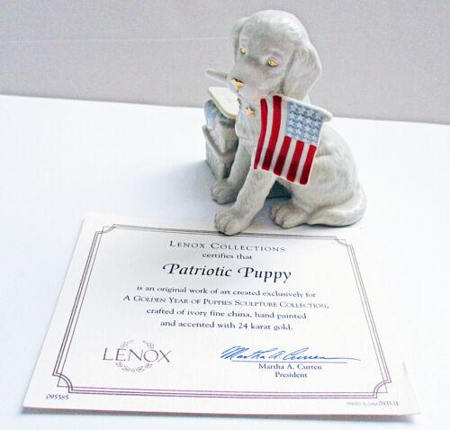 Lenox Patriotic Puppy Golden Retriever Puppy Figurine