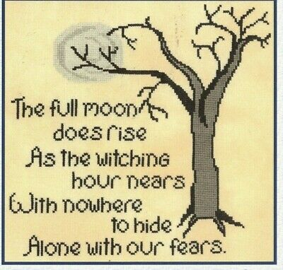 WITCHING HOUR--Halloween--Spooky Tree--Poem--Counted Cross Stitch Pattern