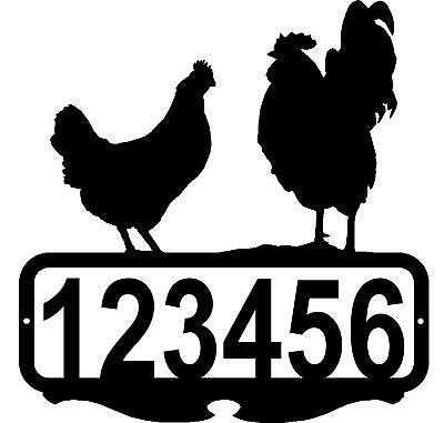 CHICKEN ROOSTER DECOR CUSTOM ADDRESS NAME SIGN RUSTIC LODGE METAL ART FARM - Black Rooster Decor