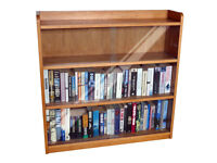 BOOK CASE SOLID OAK - Retro 1950's - Enclosed with Glass Sliding Doors