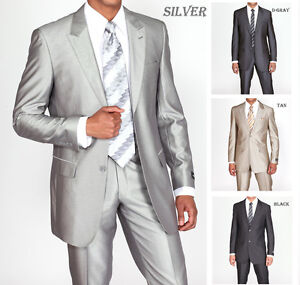 Mens-2pc-Shiny-Slim-Fit-Suits-Set-2-Button-in-Black-Gray-Tan-Silver-5702-1B