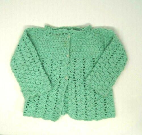 Vintage Handmade Crochet Cardigan Sweater Toddler Girls 2 Mint Green Doll