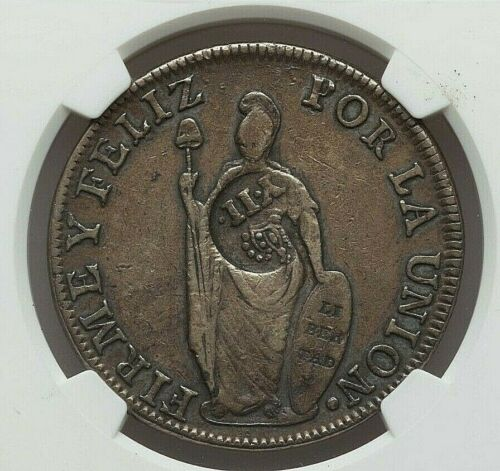ND (1837) PHILIPPINES ISABEL II SILVER 8 REALES COUNTERMARK PERU 8 REALES