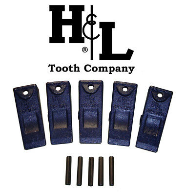 X156L Long Hensley Style Bucket Teeth (5 Pack) + Pins, by H&L Tooth Co. 156