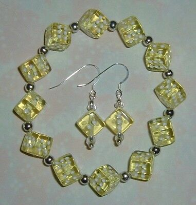 Yellow Dice Jewelry Set! Bracelet & Earrings! Bunco/ Bunko/Casino Party! Gamers! Bangle Yellow Jewelry Set