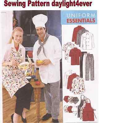Women Men Chef Jacket Hat Apron Pants Sewing Pattern 2233 Size Small NEW #u Chef Apron Pattern