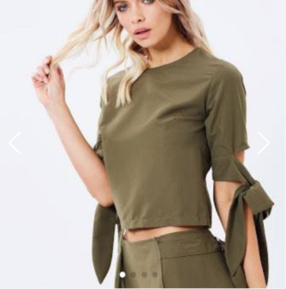 Maurie and Eve Valley of Flowers Khaki Top