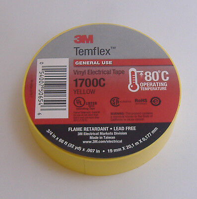 "PREMIUM GRADE 3M TEMFLEX YELLOW VINYL ELECTRICAL TAPE 3/4"" X 66' FLAME RETARD"