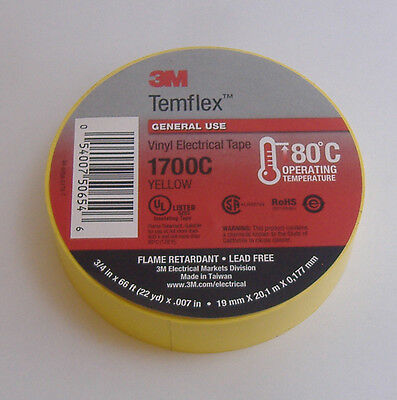 Premium Grade 3m Temflex Yellow Vinyl Electrical Tape 34 X 66 Flame Retard