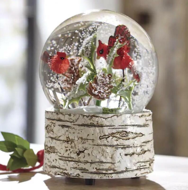 """Musical Christmas Cardinal Winter Snow Globe 6""""H x 4""""Diam"""