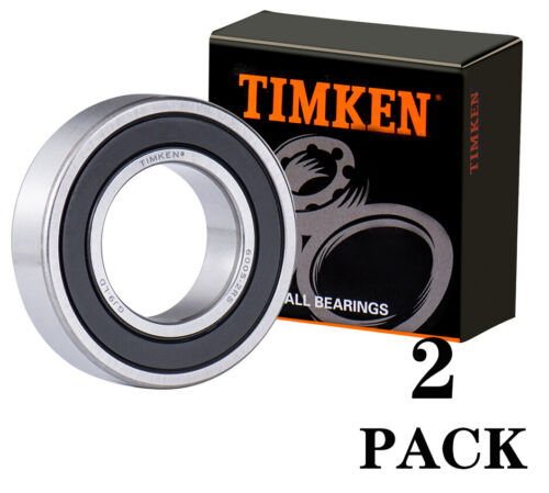 (2 PACK) 6005-2RS TIMKEN 25X47X12MM Double Rubber Seal Ball Bearings