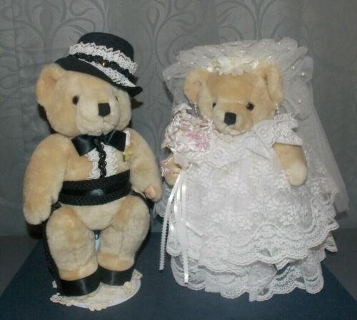 "ADORABLE VTG  JOINTED""WEDDING BRIDE & GROOM""TEDDY BEARS! 13"" /HANDMADE OUTFITS!"