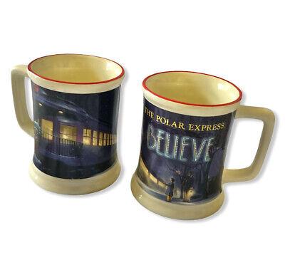 Polar Express Train Souvenir Coffee Mugs 3D Embossed Heavy Set of 2 Christmas