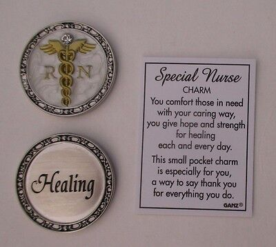 u Healing SPECIAL NURSE POCKET CHARM token caduceus comfort caring RN ganz