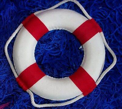 Maritime Deko Rettungsring neutral Ø: 14 cm rot / weiß