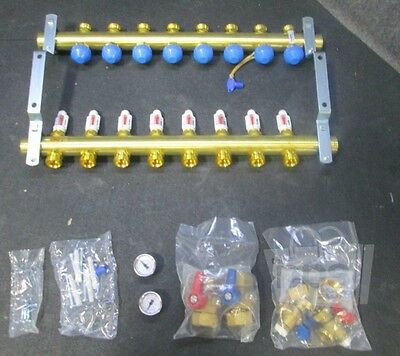 Rehau 240081-100 Pro-balance 8 Station Brass Heating Manifold 2 Gpm Per Circuit