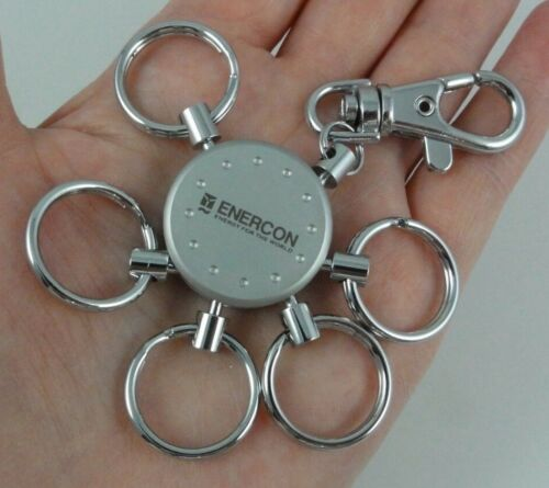 Enercon Logo Slide Key Ring Wind Turbine Power Energy Silver Tone With Box