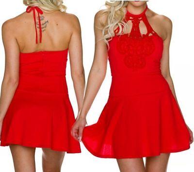 SeXy Miss Damen Neckholder Spitze Mini Kleid Party Dress 32/34/36 rot NEU Top Rotes Neckholder Top Kleider