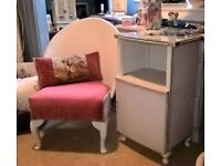 vintage bedroom chair and sidetable