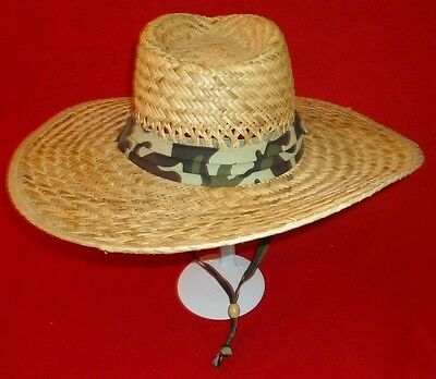 Men's Summer Camo Wide Large Brim Beach Straw Sun Lifeguard Cowboy Hat ](Camo Straw Cowboy Hat)