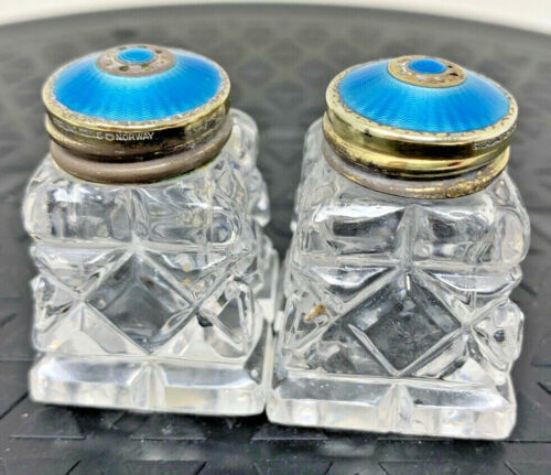 David Anderson Set of Salt and Pepper Shakers with Sterling Silver top NORWAY
