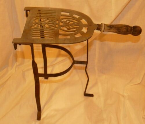 "Vintage Brass & Iron Hearth Fireplace Iron Trivet Stand Wood Handle 14.5"" Tall"