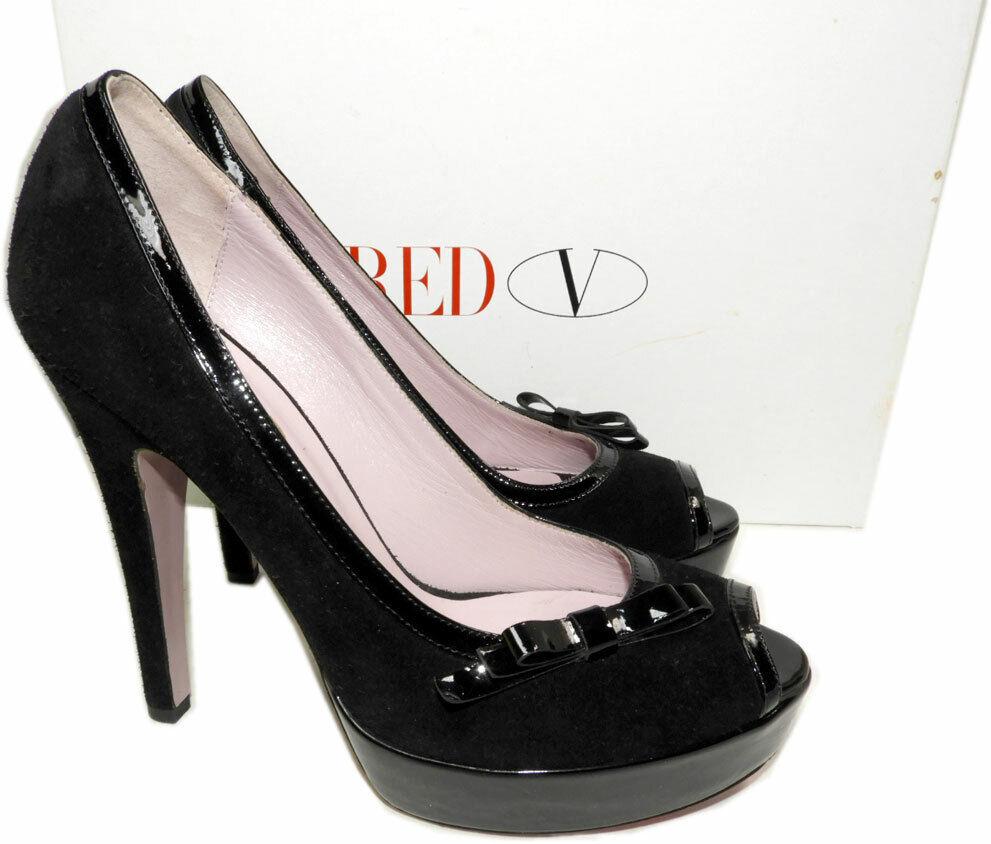 Red Valentino Bow Trim Platform Pumps Black Suede Peep Toe Shoes 395