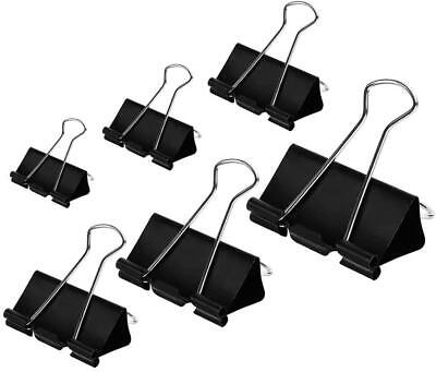 100 Count Binder Clips Paper Clamps Assorted Sizes Large Medium Small Micro