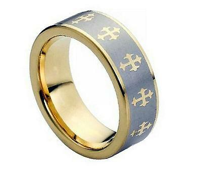 8MM Tungsten Carbide Mens Womens Gold Plated Celtic Cross Comfort Fit Band Ring ()