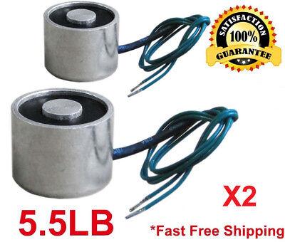 New 2 Pcs 12v 5.5 Lb Electric Lifting Magnet Electromagnet Solenoid Holding 20mm