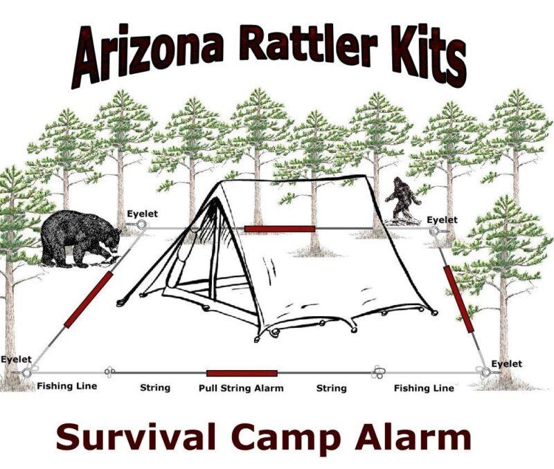 "Camp Survival Alarm Kit ""EARLY WARNING INTRUDER ALERT!"" camping hunting fishing"