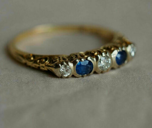 Retro Vintage Inspire Filigree Estate Ring 14k Yellow Gold Over 1.1 Ct Sapphire