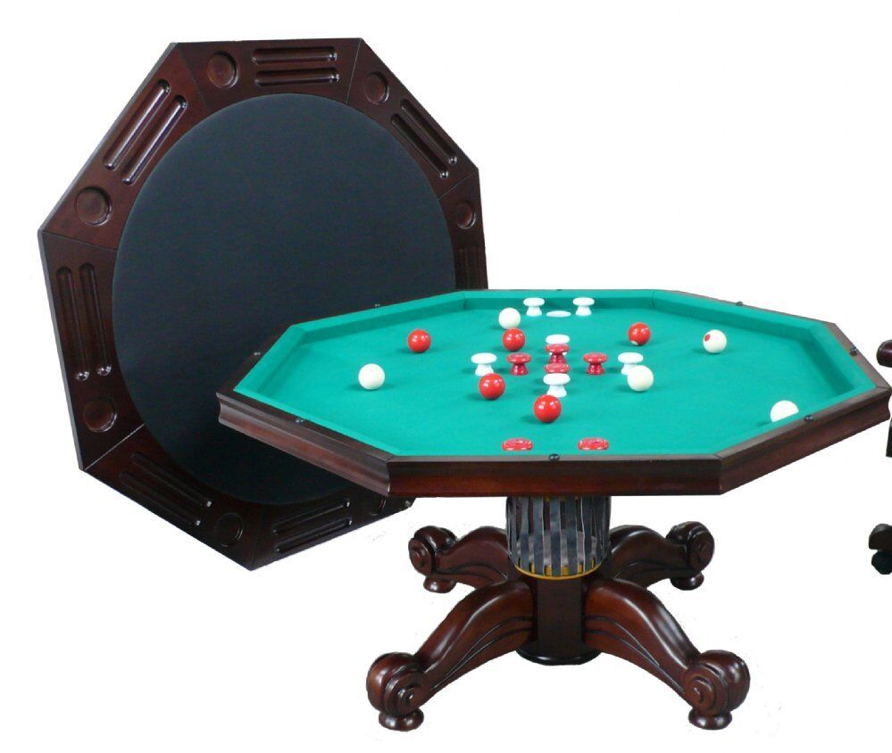 """54"""" OCTAGON 3 in 1 GAME TABLE +4 CHAIRS ~BUMPER POOL-POKER-D"""