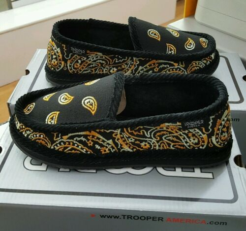 4a611a4498f5 BANDANA HOUSE SHOES SLIPPERS TROOPER AMERICA BLACK   YELLOW TIGER MEN S US  SZ 9