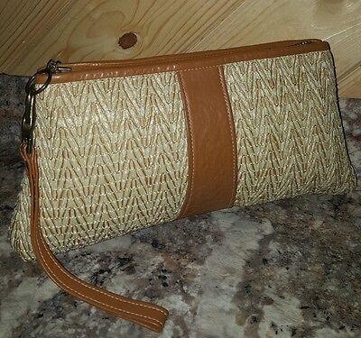 Vtg TADORA Buffalo NY Natural Straw & Leather Wristlet Clutch Day Evening Bag